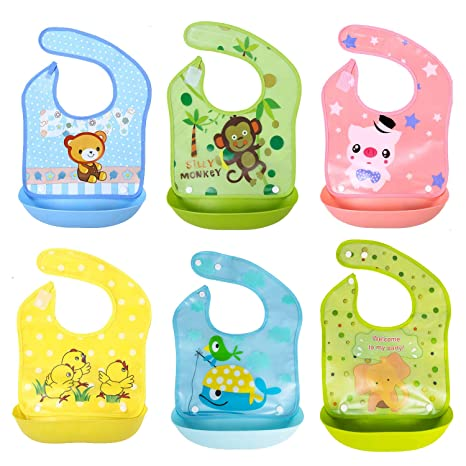 SLOSH 6 Baberos Impermeables Bebe Waterproof Niñas Niños Unisex Para Bebés de 6 Meses a 3
