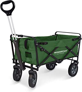 WonderFold Outdoor Next Upgraded Multi-Purpose Utility Folding Wagon with Removable Polyester Fabric, Spring Bounce Feature, Auto Safety Locks, Handle Steering Ability - Now with Stand (Green)