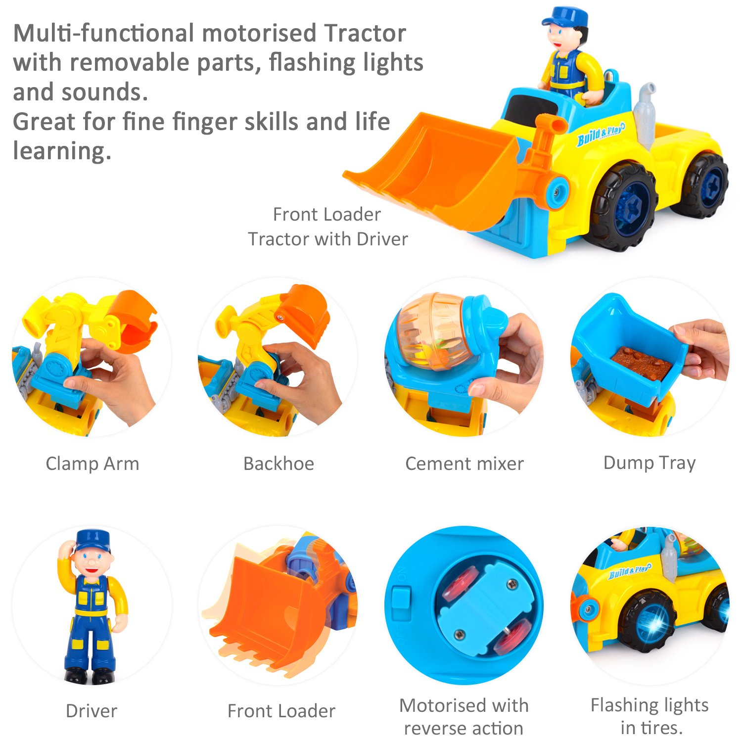 Iplay Ilearn Take Apart Construction Vehicle Tractor Diy Electric Page 3 Of 4 Trailer Farm Trucks Drill Excavator Bulldozer Lights And Music Educational Toys For 2 5