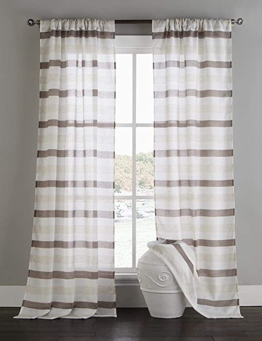 Home Maison Akua Horizontal Stripes Window Curtain, 38x96 (2 Pieces), Coffee-Linen
