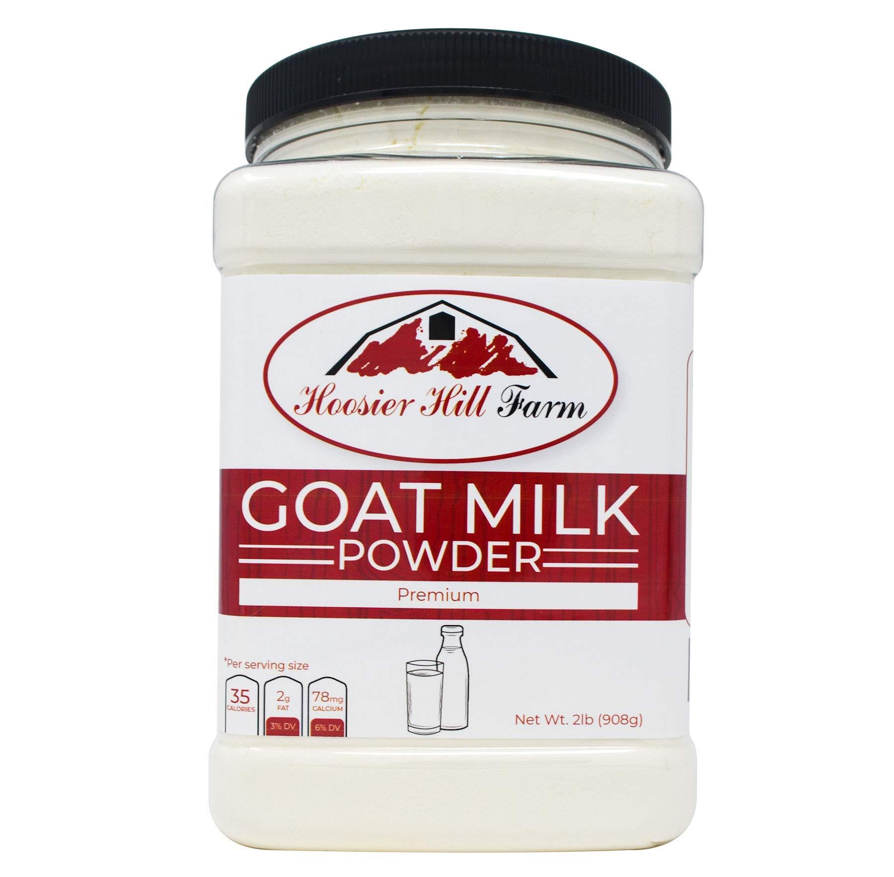Hoosier Hill Farm Goat Milk Powder 2 lb. Jar, 100% Pure No Additives, Hormone and Antibiotic Free, Batch tested Gluten Free, and Non-GMO by Hoosier Hill Farm