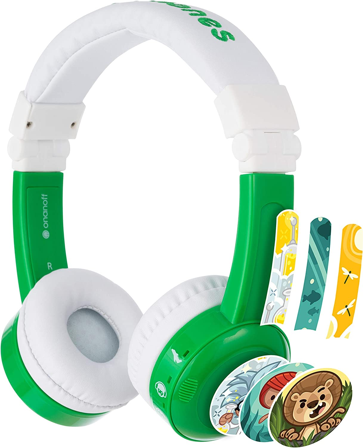Amazon Com Onanoff Buddyphones Inflight Volume Limiting Kids Headphones 3 Volume Settings Of 75 85 And 94 Db Includes Travel Mode Perfect For Airplanes Trains And Cars Built In Audio Sharing Cable Green Electronics