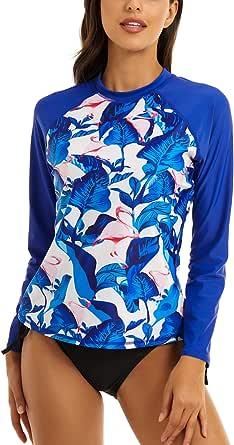 AClocod Women's Long Sleeve Rash Guard Swim Top UPF 50+ Surf Shirts Sun Protection Swimsuit