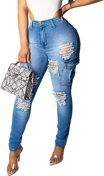Naliha Pantalones Vaqueros Rasgados Skinny De Talle Alto