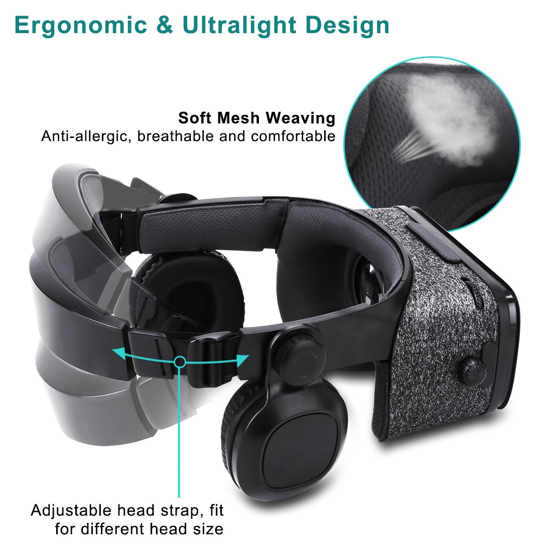 Ultralight Virtual Reality Headset with Stereo Headphones, 3D VR Glasses for VR games & 3D Movies, Comfortable & Immersive Experience VR Goggles for 4.7 - 6 inch IOS/Android Smartphones by geek-2016 (Image #6)