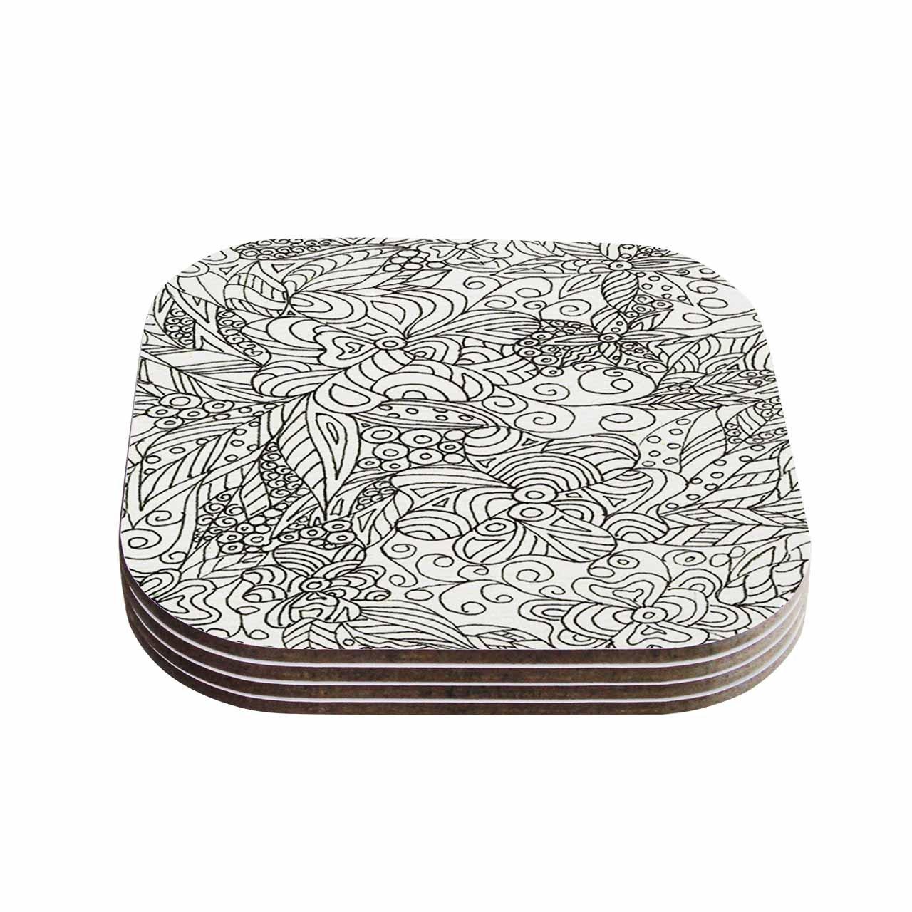 Set of 4 KESS InHouse Rosie BrownZentangle Garden Coasters Multicolor 4 x 4