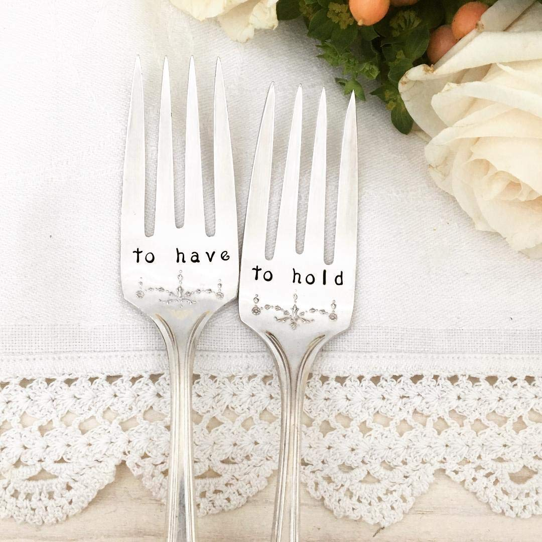 To have /& To hold wedding cake forks