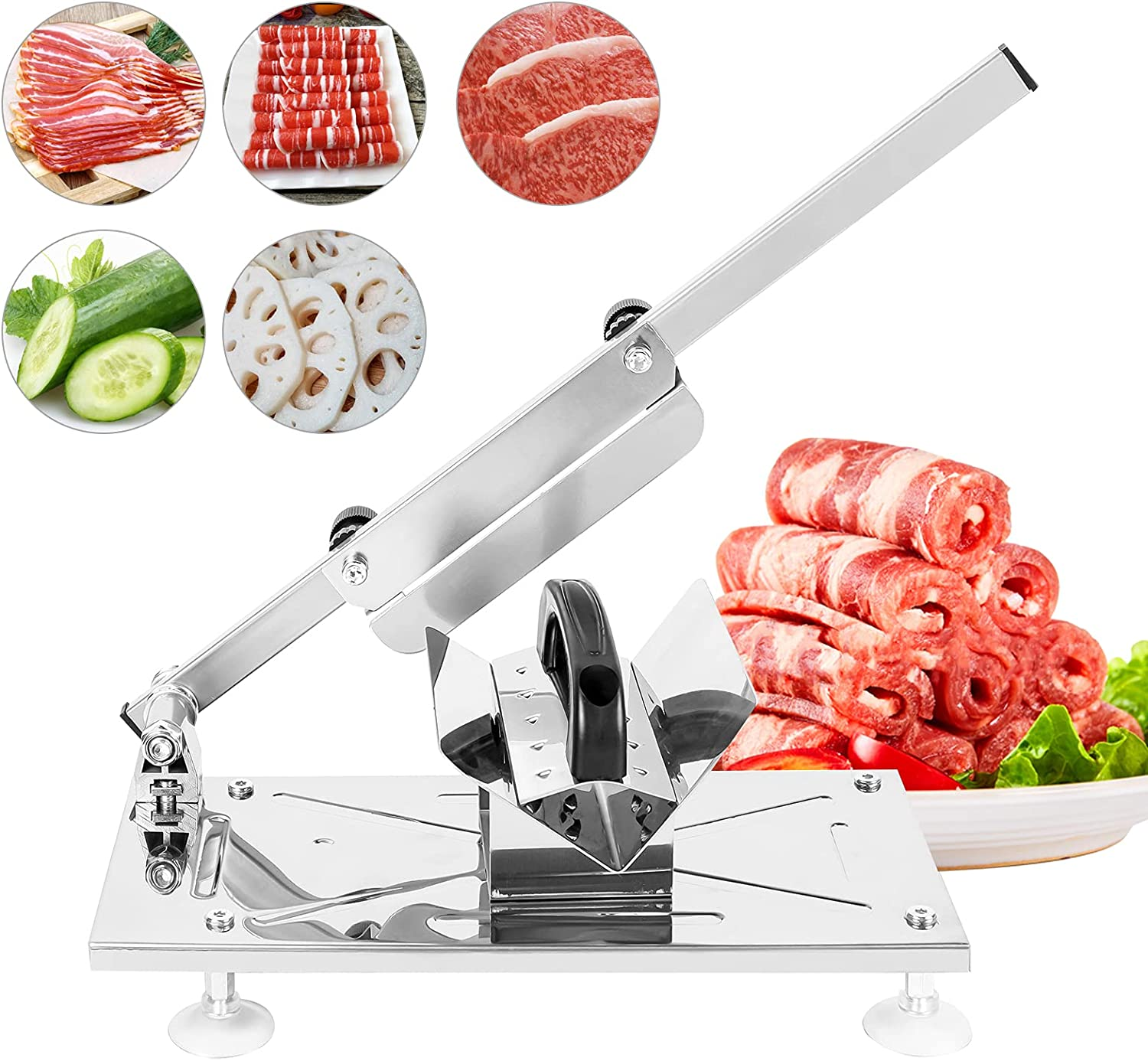 WOOW DEPOT Manual Meat Slicer Frozen Meat Cutter Stainless Steel Mutton Beef Roll Slicing Machine Food Cleaver Adjustable Slice Thickness Vegetable Fruit Cheese Cleaver for Kitchen Home Use, Silver