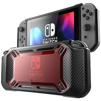 Carcasa Mumba Para Nintendo Switch [Reforzada] Carcasa Dura, Delgada y Cubierta en Goma [Enganchable] para Nintendo Switch version 2017 (rojo/negro)