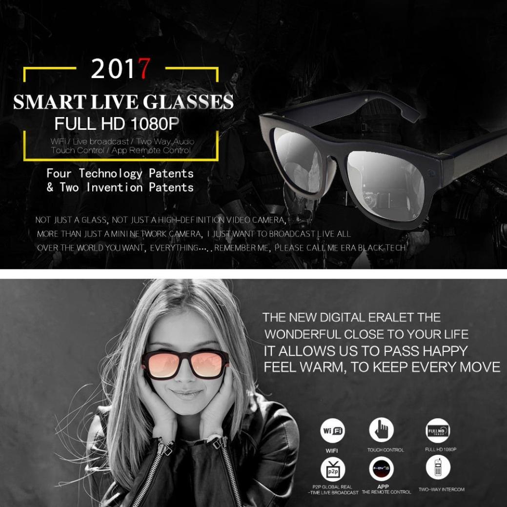 Video Glasses, Hometom Smart Live Streaming Glasses FHD 1080P Cap Hidden WIFI Camera Video Glasses Cam (Black) by Hometom (Image #2)