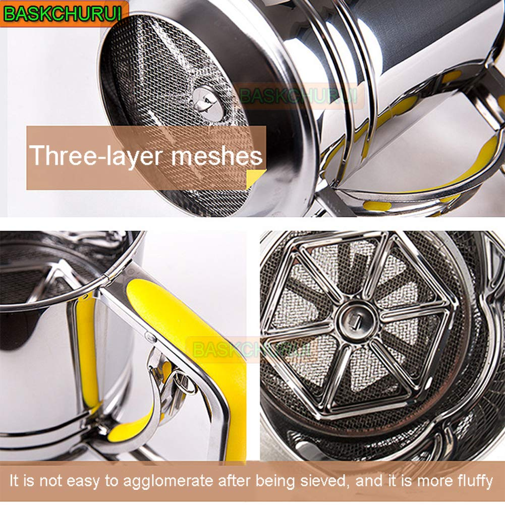 Hand-held Stainless Steel Flour Sifter with Silicone Handle Fine Mesh Sieve for Baking (3 Cup) by Baskchurui (Image #3)
