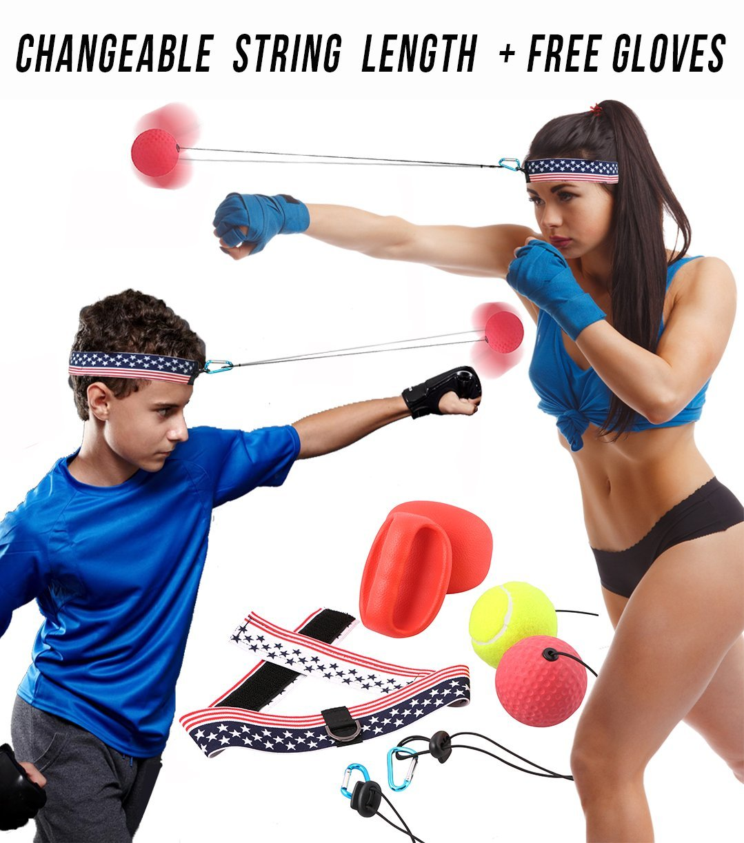 Boxing Reflex Fight Ball - Improves Focus, Reaction Time, Hand Eye Coordination - Birthday Gift for Kids, Boys, Girls, Men and Women - Fun Speed Training Sport Indoor Home Equipment Kit Game Activity by Caravan BD