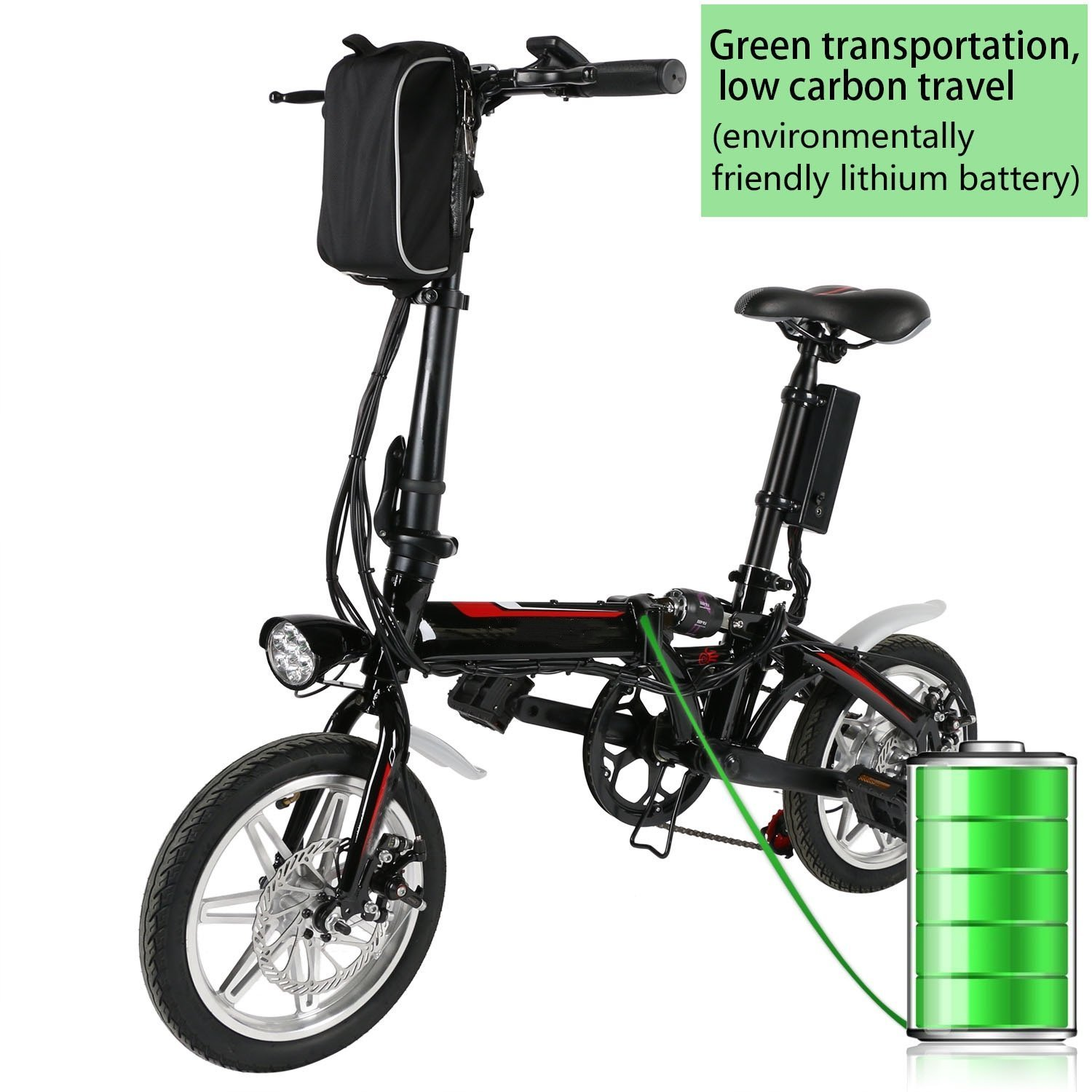 begorey 14 pulgadas Folding Bike Mountain Bike Bicicleta Anti-Shock Unisex con ruedas Pedelec - Batería de ion de litio: Amazon.es: Deportes y aire libre