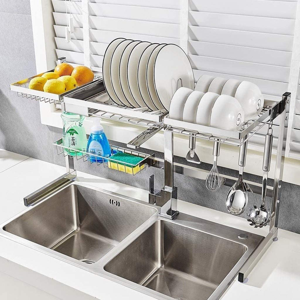 食器水切りラック、キッチンオーガナイザーホルダーシンク乾燥は用具アルミ合金ラック (Size : 83*48*28cm)