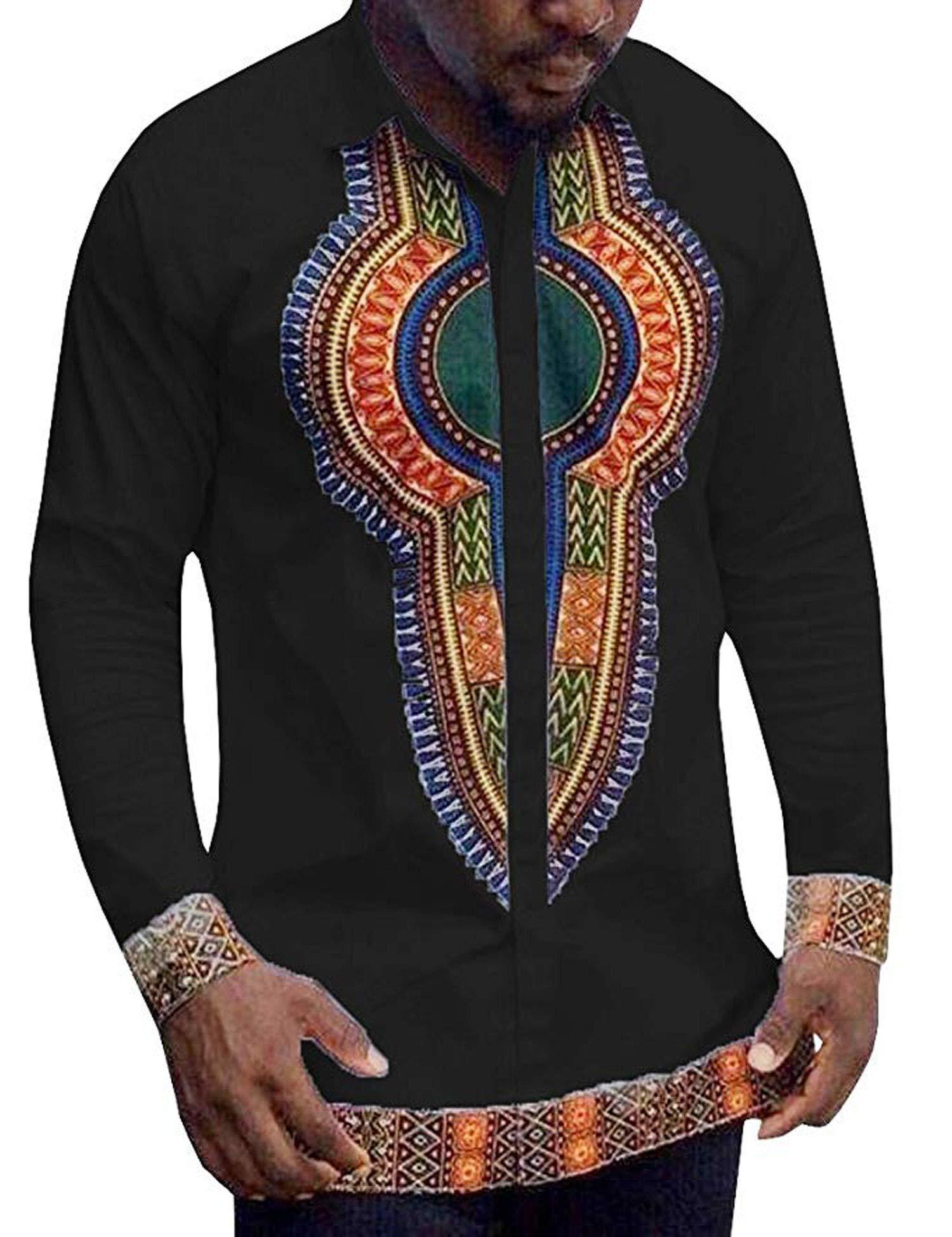COOFANDY Mens Long Sleeves African Dashiki Button Down Shirt, Black, Large