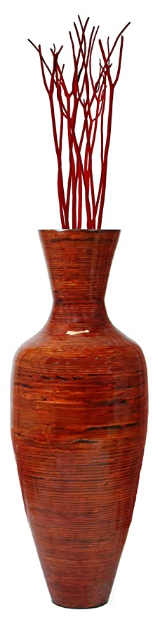 Amazon 375 Tall Bamboo Floor Vase Glossy Red Home Kitchen