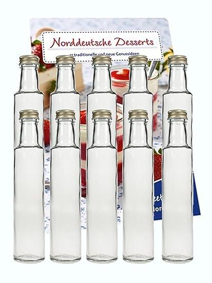 Juego de botellas de cristal (con tapón de rosca en plata | 10 piezas |
