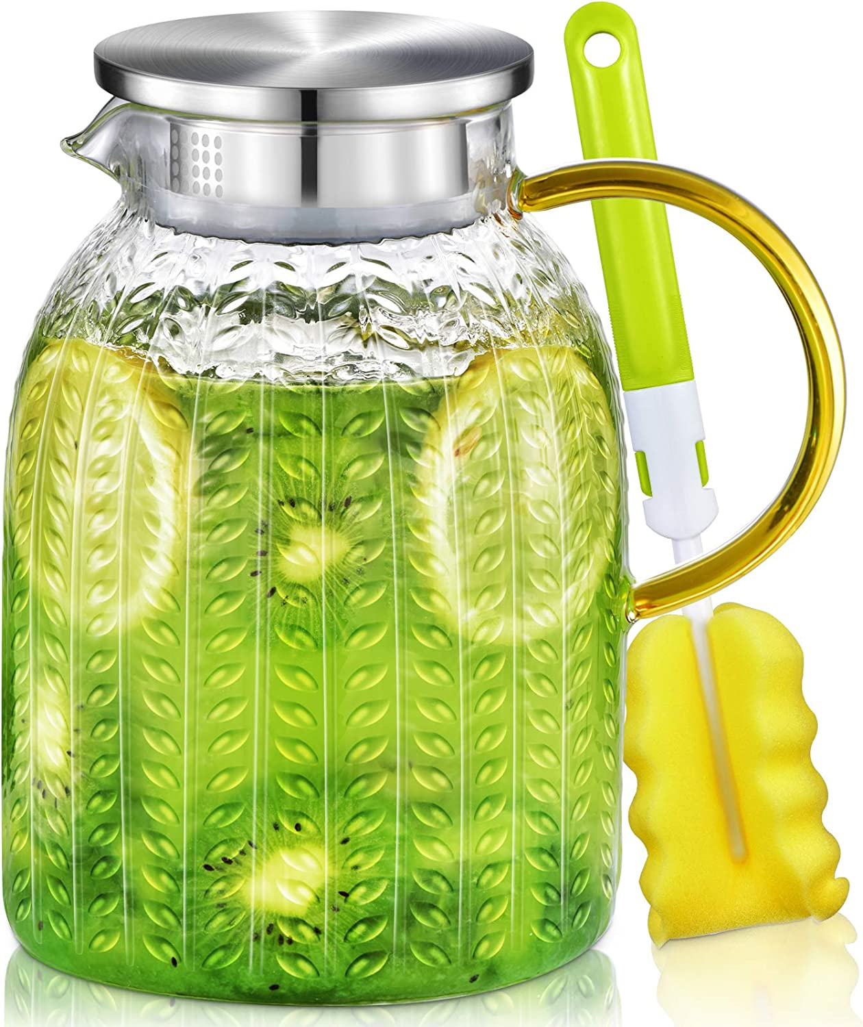 Aofmee Pitcher, 60oz Glass Pitcher, Water Pitcher with Lid, Iced Tea Pitcher for Fridge, Glass Carafe for Cold or Hot Beverages, Sun Tea Jar for Juice, Easy Clean Heat Resistant Glass Jug for Milk