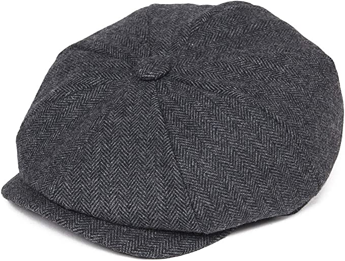 New Edwardian Style Men's Hats 1900-1920 BOTVELA Mens 8 Piece Wool Blend Newsboy Flat Cap Herringbone Tweed Hat $19.99 AT vintagedancer.com