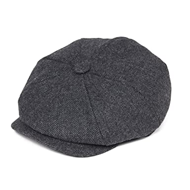 c8617af1a8554 BOTVELA Men s 8 Piece Wool Blend Newsboy Flat Cap Herringbone Pattern in  Classic 5 Colors (