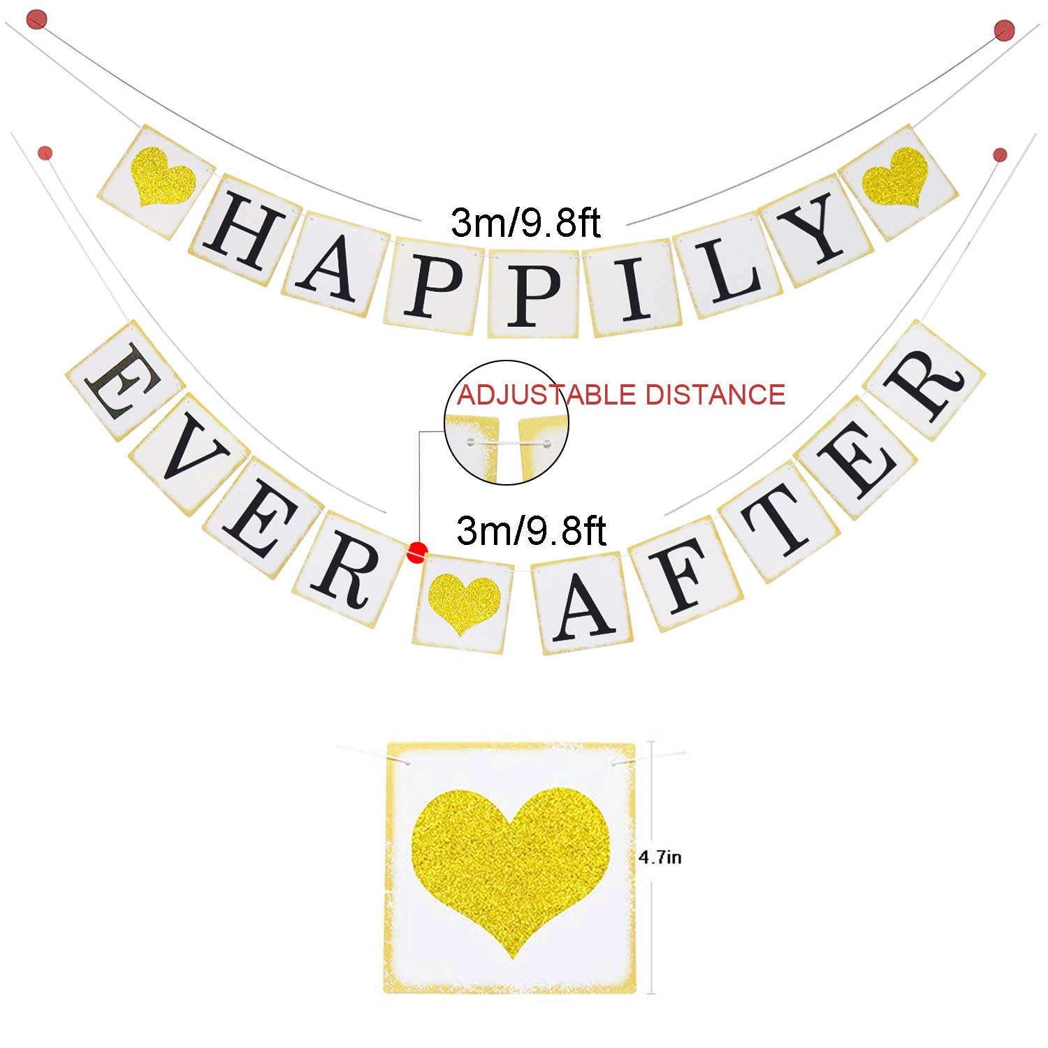 Amazon.com  Happily Ever After Banner Sign Gold Glitter Heart -Wedding  Engagement Bridal Shower Party Decorations - Photo Props  Health   Personal  Care c42f656ee