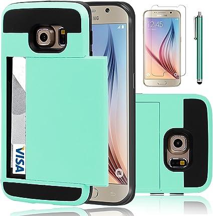Samsung Galaxy S6 Edge-Cartera De Cuero Funda Mini Stylus Y Protector De Pantalla