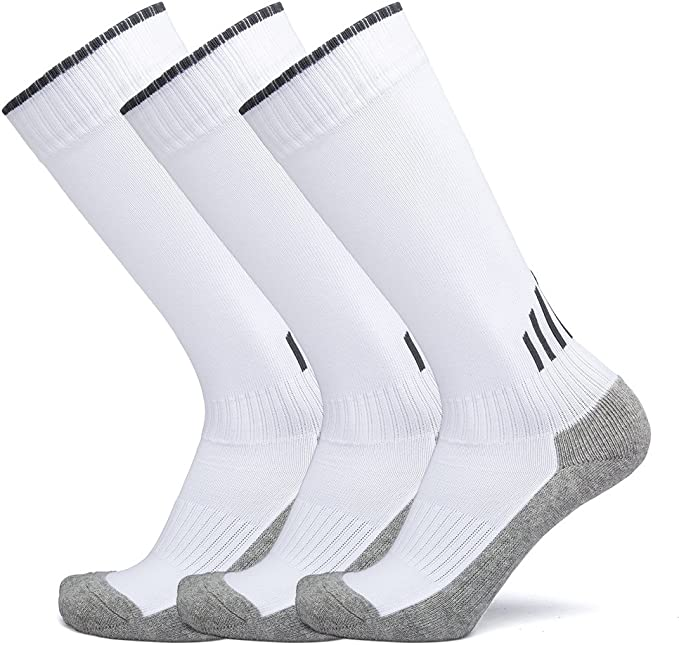 APTESOL 3 Pairs Over-The-Calf Team Sport Socks Unisex Boys Girls Performance Knee High Combed Cotton Bottom Tube Socks