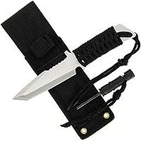 Anglo Arms Intrepid Couteau à lame noire fixe de 9,2cm avec allume-feu, sifflet et étui pour la chasse ou les activités de survie