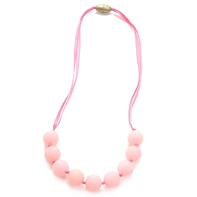 Chewbeads Juniorbeads Madison Necklace Teething Jewelry Soft on Infant's Gums and Teeth 100% Safe Silicone Easily Cleaned, Dishwasher Safe Glow in The Dark Bubble Gum Pink : Childrens Pretend Play Necklaces : Baby