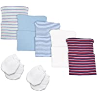 Nurses Choice 5 Piece Hospital Hat & Mitten Set for Newborn Baby (Boy)