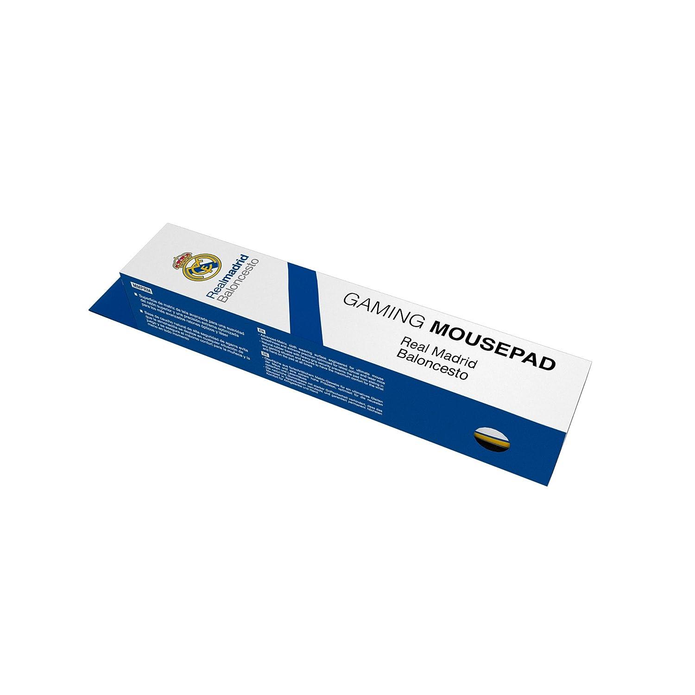 Alfombrilla Real Madrid para PC-(RM,Superficie de Tela Avanzada, Base de Caucho Natural, Compatible con Ratón Laser y Óptico, Producto oficial Euroliga, ...