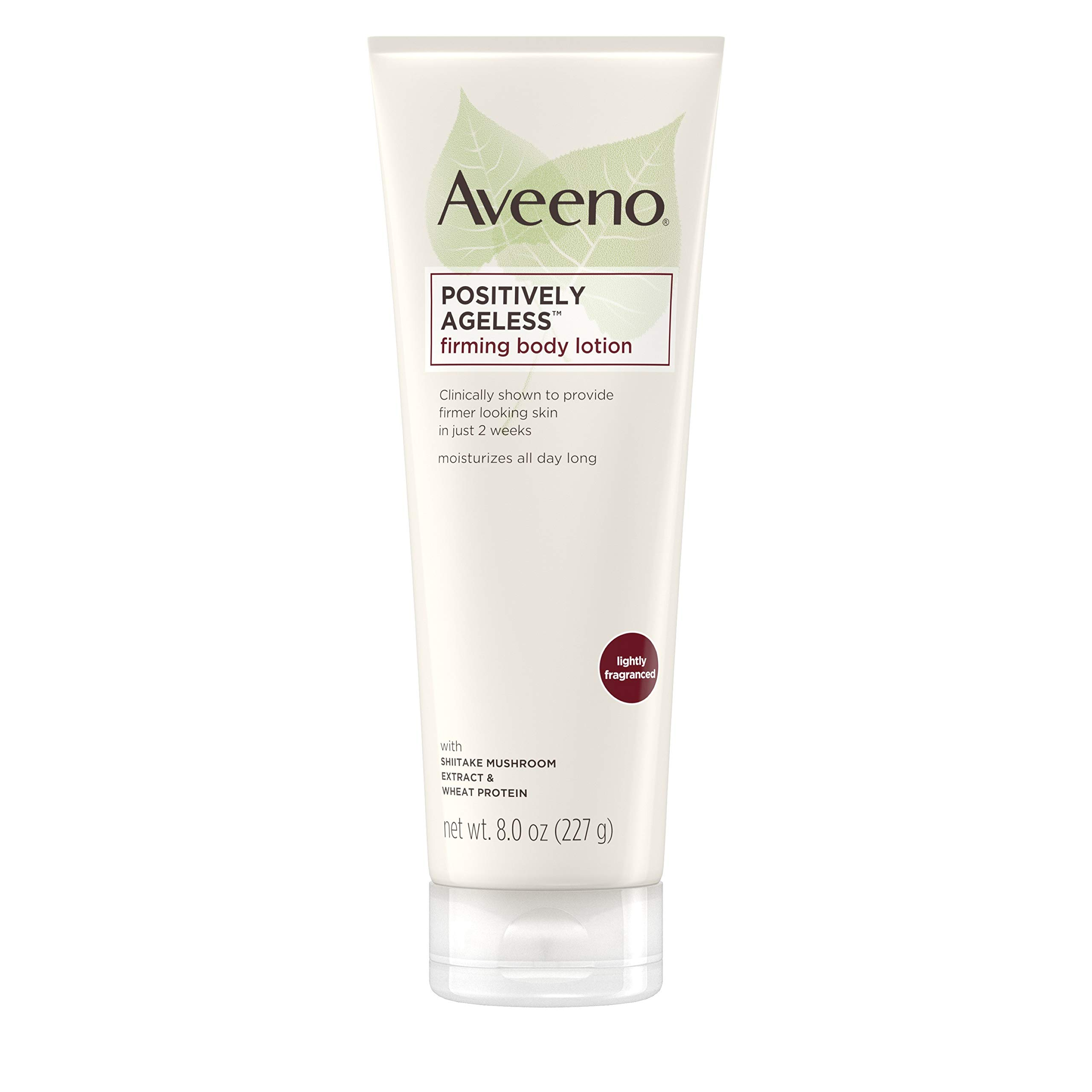 Aveeno Positively Ageless Anti-Aging Firming Body Lotion with Shiitake Mushroom complex & Wheat Protein, Lightweight & Non-Greasy Daily Lotion to Improve Skin Elasticity & Texture, 8 oz (2 Pack) by Aveeno