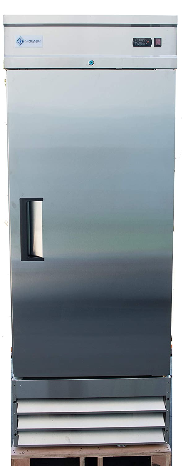 Stainless-Steel Single Solid Door Alpha Chef Equipment Commercial Reach-In Freezer 23 Cu.Ft