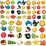 AUCH 48pcs Assorted Color Wooden Magnetic Fun Bright Colorful Preschool Toddler Toy Color and Shapes Learning Refrigerator Magnets Fridge Stickers