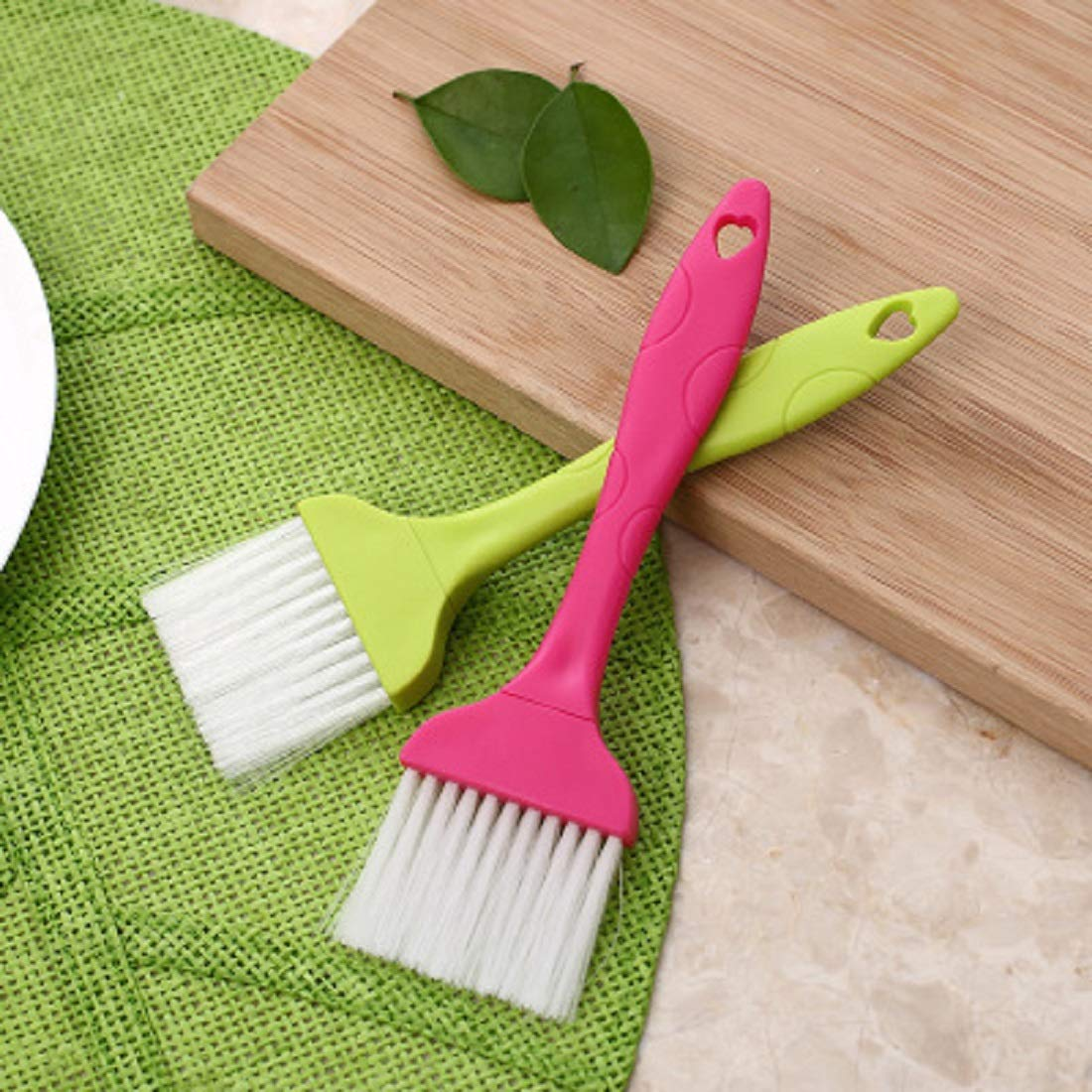 Nylon Bristle Pastry Brush Plastic Grip for Basting, Baking, Cooking Food Brush, Green, Pink