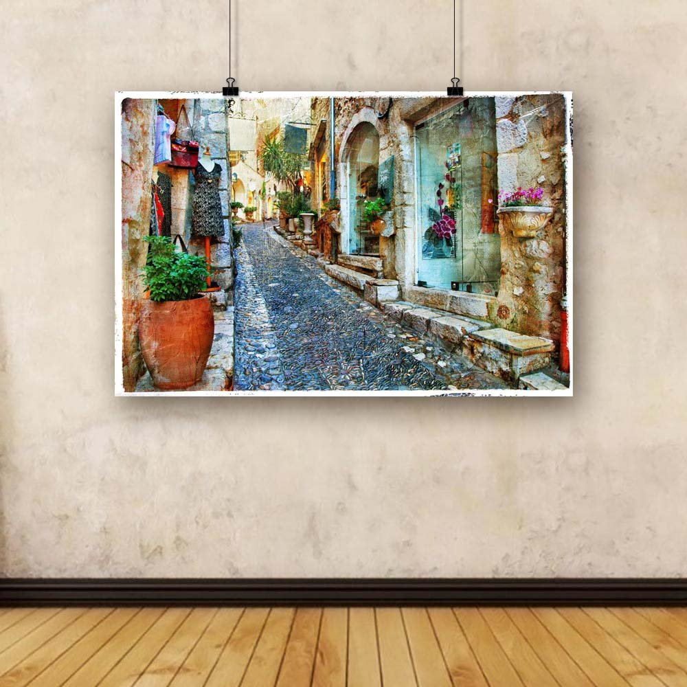 Pitaara Box Charming Streets of French Villages Unframed 56.2 Canvas Painting 56.2 Unframed x 37.4inch 57146a