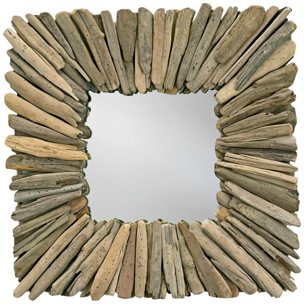 "Currey and Company 1030 Beachhead 21"" Square Mirror, Natural Driftwood"