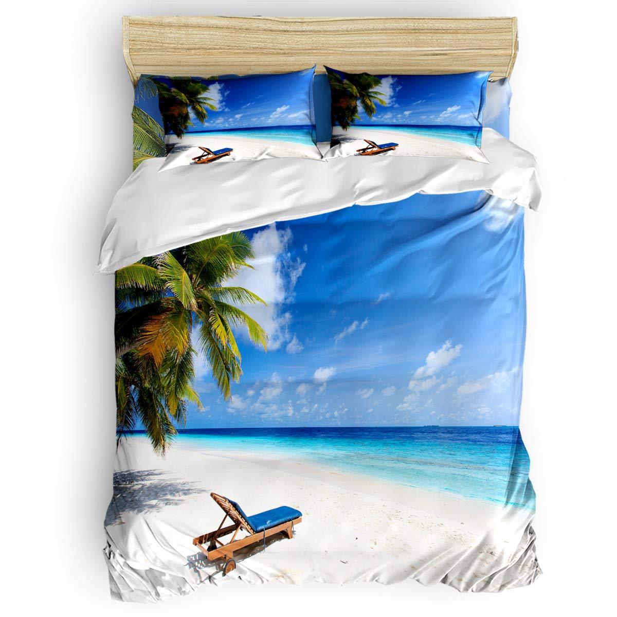 掛け布団カバー 4点セット 水中世界 サンゴ礁 魚 海洋生物 寝具カバーセット ベッド用 べッドシーツ 枕カバー 洋式 和式兼用 布団カバー 肌に優しい 羽毛布団セット 100%ポリエステル クイーン B07TG9WWHR seasideLAS0780 クイーン
