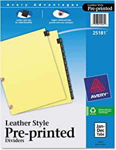 Avery 25181 Preprinted Black Leather Tab Dividers w/Copper Reinforced Holes, 12-Tab, Letter