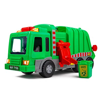 "Playkidiz Kids 15"" Garbage Truck Toy with Lights, Sounds, and Manual Trash Lid, Interactive Early Learning Play for Kids, Indoor and Outdoor Safe, Heavy Duty Plastic: Toys & Games [5Bkhe1200495]"