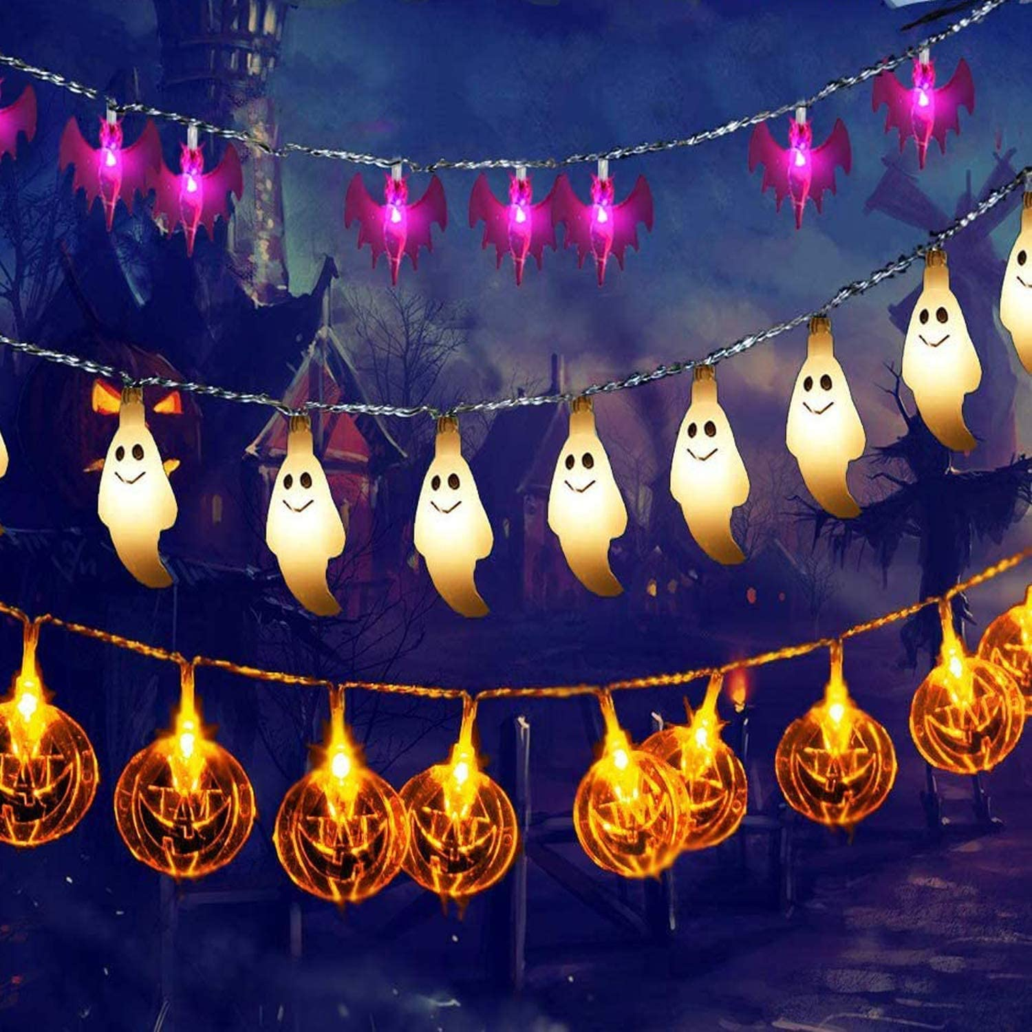 INAROCK Halloween String Lights, Pumpkin Ghost and Bat Halloween Decorations 29.6ft 60 LED String Lights Remote Control Battery Operated Lights for Halloween Outdoor Indoor Party Holiday Yard Decor