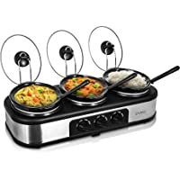 LIVIVO 3 Hot Pot Electric Slow Cooker and Buffet Server- 3 Large 1.5L Pots and Lids and Adjustable Heat Temperature Thermostat Control Setting