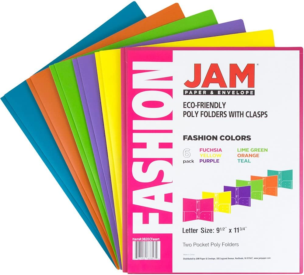 JAM Paper Plastic Eco 2 Pocket Presentation Folder w// Clasps Blue Lot of 18