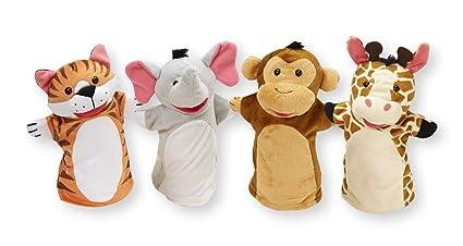 Melissa & Doug Zoo Friends Hand Puppets (Set of 4) - Elephant, Giraffe, Tiger, and Monkey