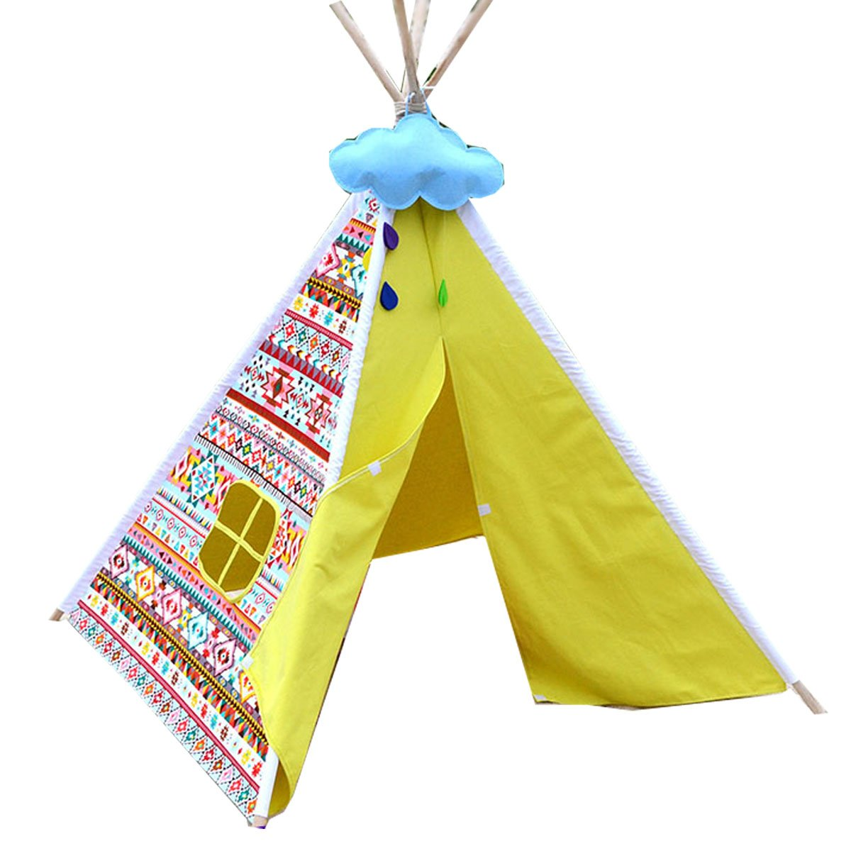 Bright yellow color New design Rainbow pattern children game room indian Teepee