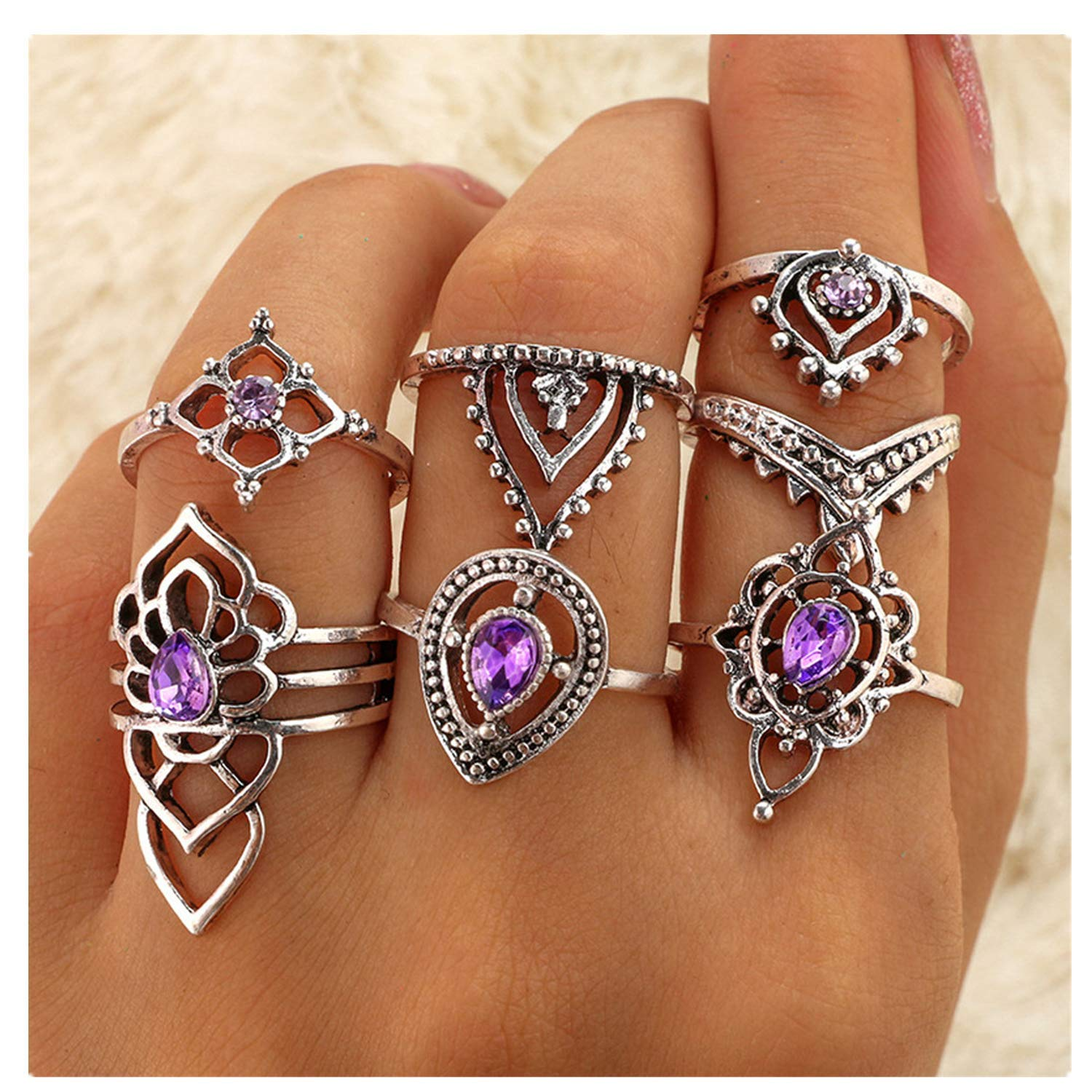HUAMING Fashion Women Punk Silver Boho Vintage Stack Plain Knuckle Ring Jewelry Full Finger Tip Rings Set Multiple Turkish Style Choice (F)