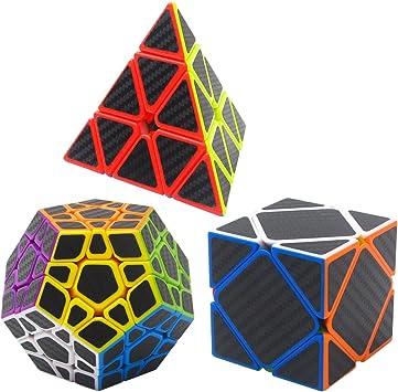 Coolzon Puzzle Cubes Megaminx + Pyraminx + Skewb 3 Pack Cubo Magico con Pegatina de Fibra de Carbono Velocidad: Amazon.es: Juguetes y juegos