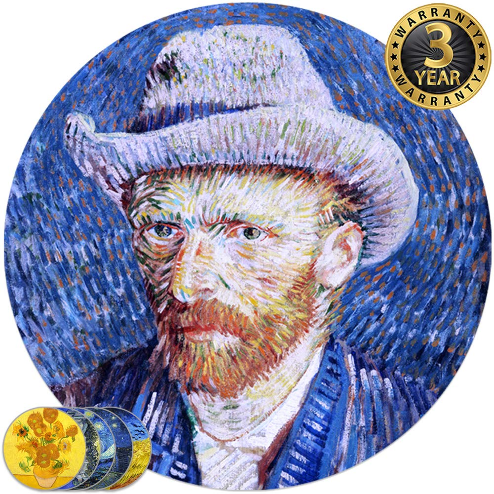 Coasters for Drinks Absorbent Stone Protects Furniture, a large ceramic desk bar round 4 inch decorative, 6 pack van gogh