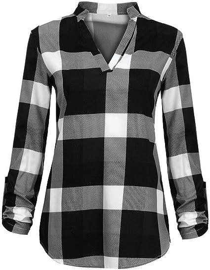 Camiseta de Mujer, Mujer Blusa de Manga Larga Botones Camisetas Oferta Blusas de Mujer Elegantes de Fiesta Primavera Casual Camisa a Cuadros vpass: Amazon.es: Ropa y accesorios