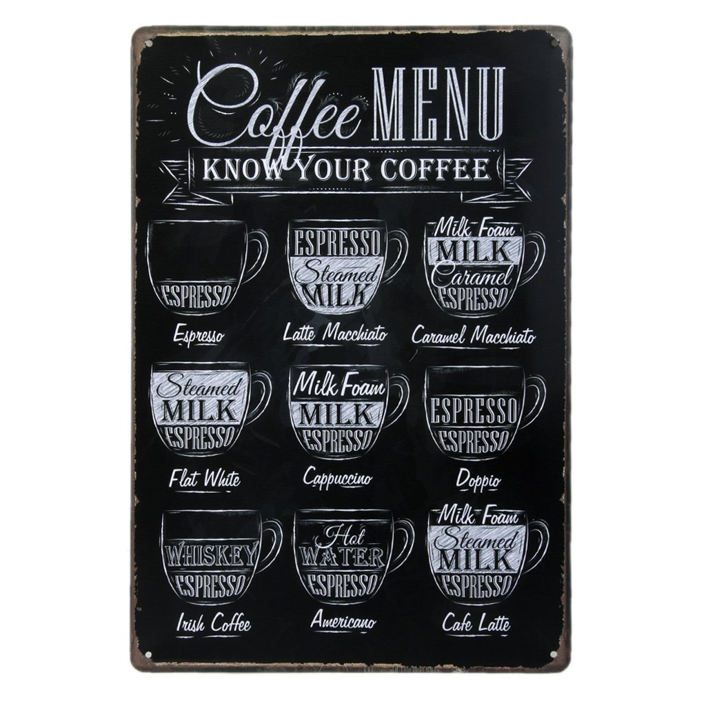 """Coffee Menu Know Your Coffee, Metal Tin Sign, Wall Decorative Sign, Size 8"""" X 12"""""""